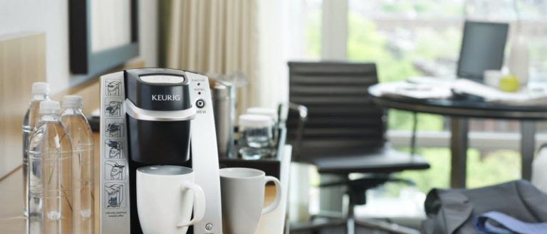 Keurig's B130, the first in-room, single cup hotel brewer.