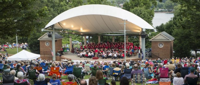 A Music by the Lake concert at Furman University's Lakeside Amphitheater.