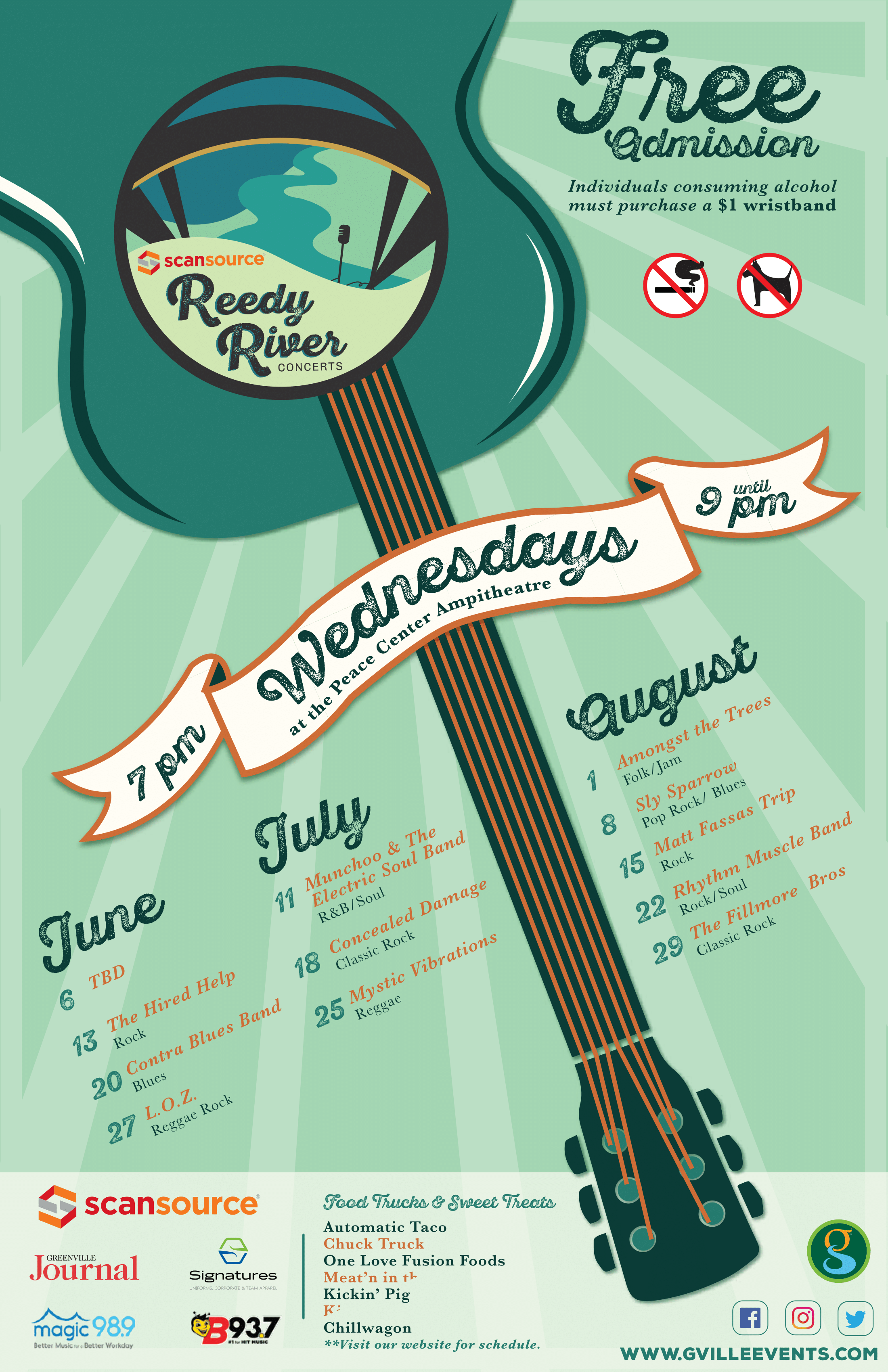 A schedule flyer for the 2018 Reedy River Concert Series.