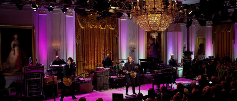 Paul McCartney performing in the White House.