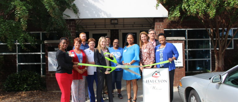 The ribbon cutting for Halcyon Hospice.
