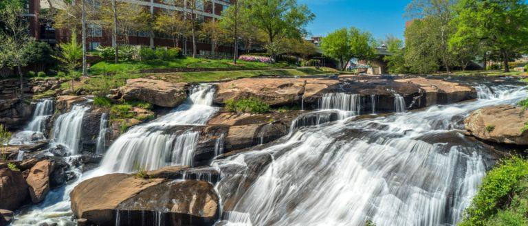 A flowing river at Falls Park in downtown Greenville.