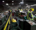 Workers at a recycling facility sorting through items.