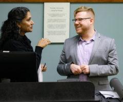 Professor of Asian Studies and History Savita Nair and Travis Evans-Sago '09 spoke during his March talk