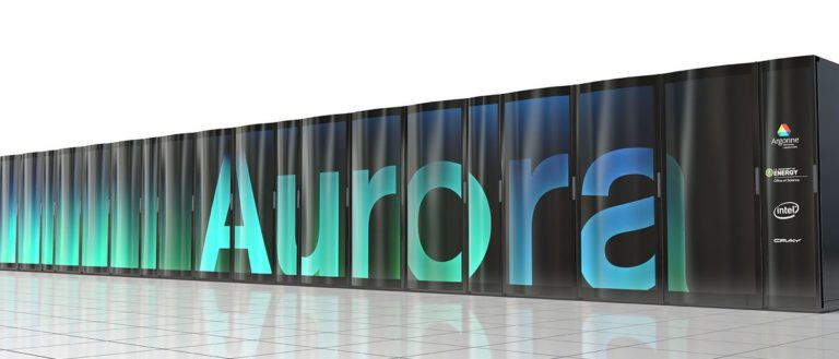 A rendering of the future Aurora supercomputer on a datacenter floor.