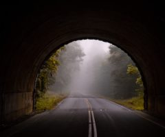 A road leading out of a mysterious, foggy tunnel.
