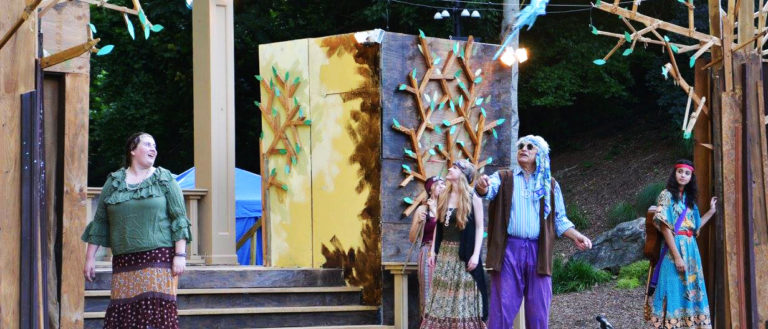 Upstate Shakespeare Festival performers on stage during a run of As You Like It.