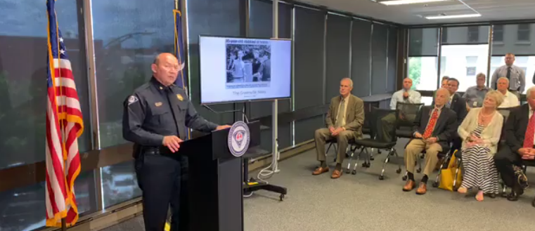 Chief Ken Miller briefing the press on the Alice Ryan cold case.