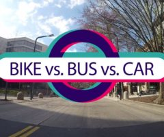 The annual Bike vs. Bus vs. Car race in support of World Car Free Day.