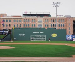 Players practicing on Fluor Field, home of the Greenville Drive.